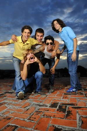 Portrait of young trendy group of male friends having fun Stock Photo - 4343570