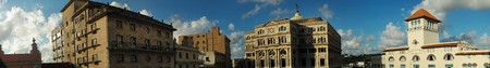 typical: Panoramic view of typical Old havana buildings against sunset background Stock Photo