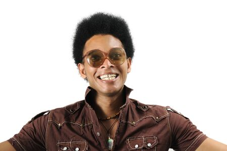 Portrait of young african man with retro sunglasses and surprise expresssion  photo