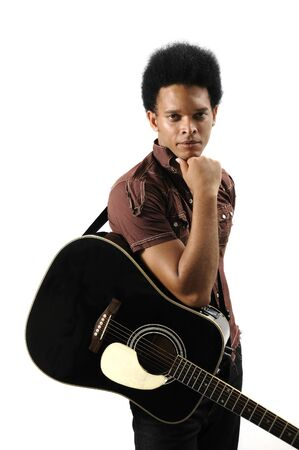 Portrait of young trendy african male with acoustic guitar - isolated photo