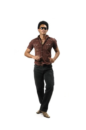 Portrait of younf trendy latino man isolated over white photo