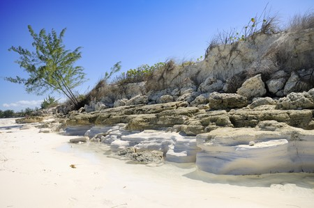 A view of tropical beach with rocks and vegetation - cayo guillermo, cuba Stock Photo - 4335586