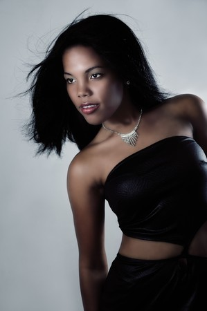 american sexy: Portrait of young beautiful african american fashion model