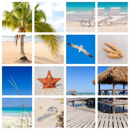 Collage of tropical beach scenes made from 8 pictures
