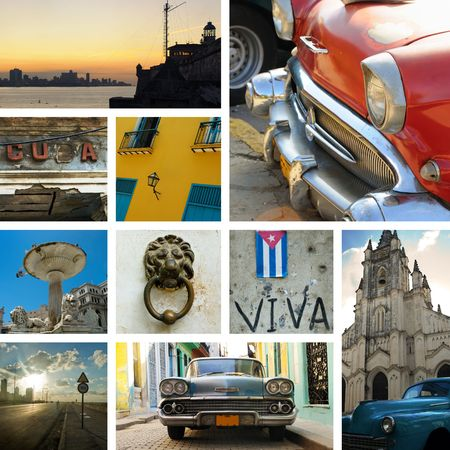 oldtimer: Cuban stamps - Collage made from 10 photographs