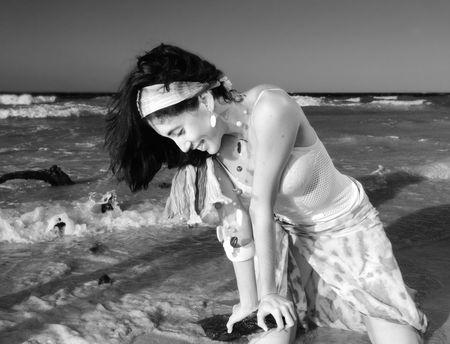 bw: B&W Portrait of young beauty enjoying the beach