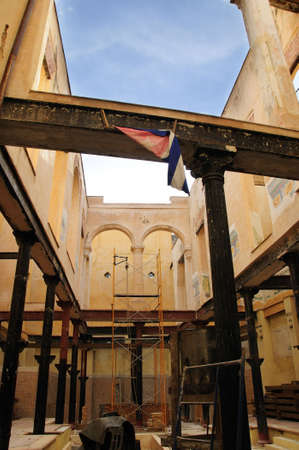 Detail of crumbling building interior in Old havana photo