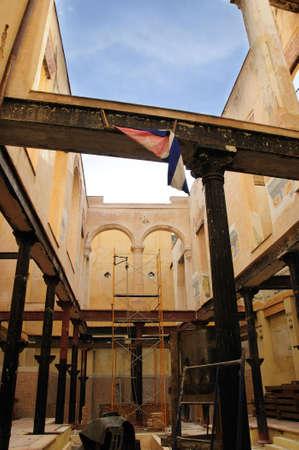 crumbling: Detail of crumbling building interior in Old havana