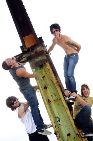 Portrait of young trendy group of male friends - isolated photo