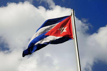 Cuban flag waving under blue sky background Stok Fotoğraf
