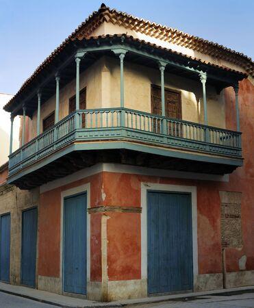 typical: Detail of vintage typical old havana building
