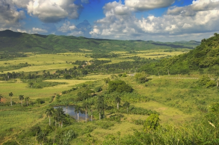 A view of rural tropical landscape with vegetation on cuban countryside photo
