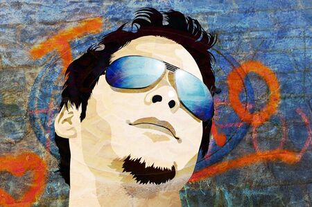 Illustration of young male model wearing sunglasses over grunge texture background Stock Photo