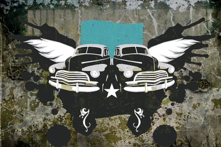 oldtimer: Illustration of cuban classic vintage car over grunge abstract background