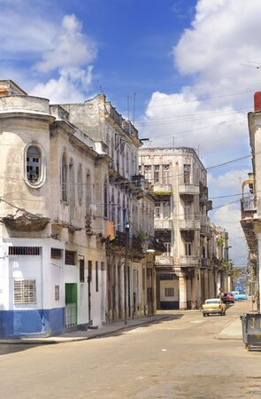crumbling: Detail of havana cityscape with crumbling buildings