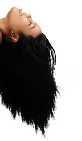 Portrait of young african american woman with long hair - isolated  photo
