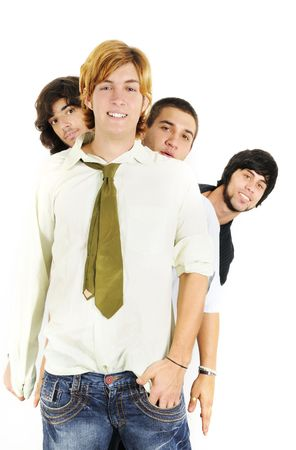 Portrait of young cool guys standing with happy expression - isolated over white photo
