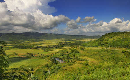 sierra: Panoramic view of rural landscape with tropical vegetation on cuban countryside - sierra del escambray, trinidad