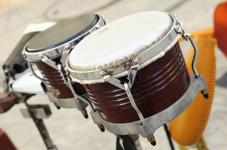 bongo: Detail of traditional afrocuban percussion instrument bongo Stock Photo