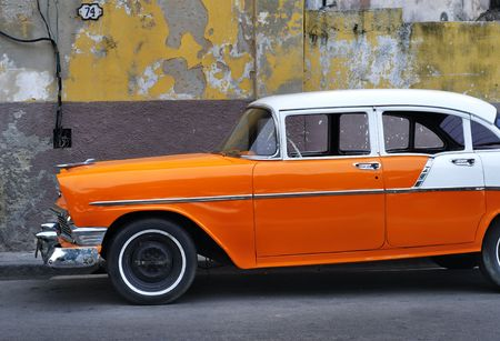 Detail of vintage classic american car on the streets of Old havana