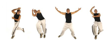 Four poses of young cheerful african american man jumping isolated  Stock Photo