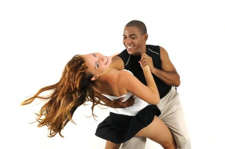 Portrait of african hispanic dance instructor with beautiful girl- isolated Stockfoto