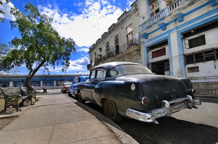 A view of havana street with classic vintage american car, cuba