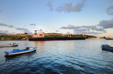 A view of large container ship arriving to Havana bay