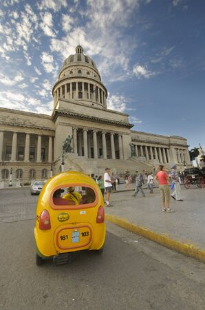 View of havana capitoly dome with coctaxi, taken in dec 2009 photo