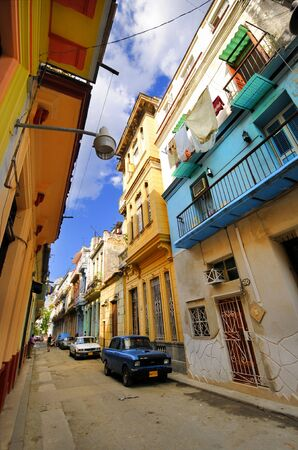 View of shabby havana street with colorful facades in Old Havana, cuba. Stock Photo