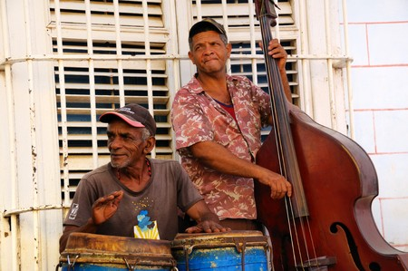 declared: Trinidad, Cuba. Circa OCT 2008. Traditional musicians playing in the street, Trinidad was declared by UNESCO World Heritage Site in 1988