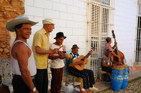 Trinidad, Cuba. Circa OCT 2008. Traditional musicians playing in the street, Trinidad was declared by UNESCO World Heritage Site in 1988