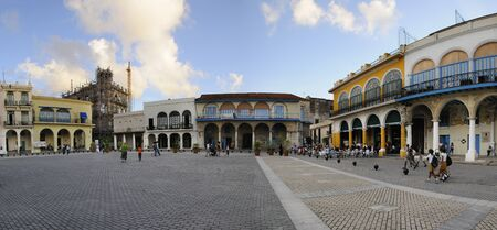 vieja: Old Havana Plaza Vieja panorama with old colonial buildings, Many of them have fallen in ruin in the later half of the 20th century, but a number are being restored. Taken circa NOV 2008