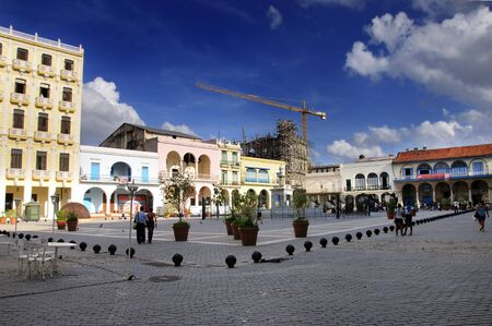 A view of Old Havana plaza with fountain recently restored. It was declared by UNESCO World Heritage Site in 1982. Taken CIRCA March 2009. Stock Photo - 7665235