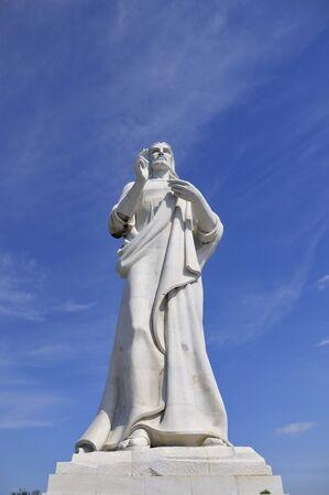 jesus standing: HAVANA - FEB 16TH, 2008. Christ of Havana, a 20 meters high marble statue made by Cuban sculptor Jilma Madera in 1958. Taken on fer 16th, 2008 in Havana, Cuba.