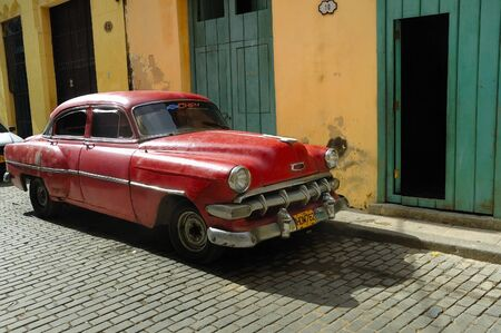 HAVANA - DEC 3RD, 2008. Old classic american car parked in a street of Havana. Most of them are now used as private taxi. Taken on december 3rd, 2008 in Havana, Cuba. Editorial
