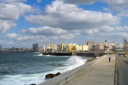 HAVANA - DEC 3RD, 2008. Cityscape from Havana Malecon, a broad promenade seawall along the coast. Taken on december 3rd, 2008 in Havana, Cuba.