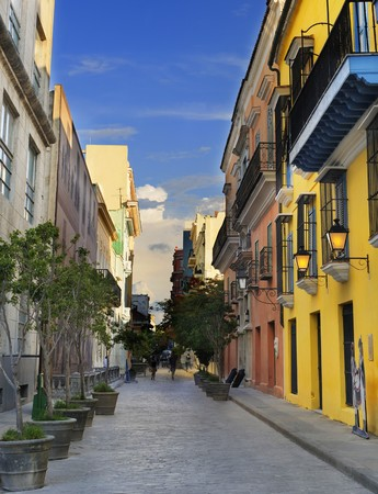 A view of Old Havana street with typical colonial buildings 写真素材
