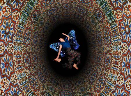 black hole: Abstract retro tile design hole with fairy falling trough black hole