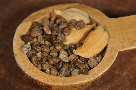 カルダモンの種子と木のスプーンのマクロ撮影