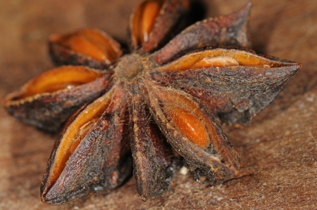 Detail of star anise against wood background Stock Photo - 13568248