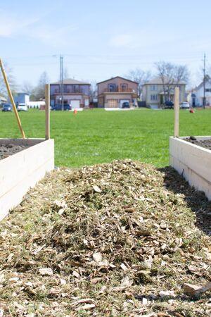urban gardening: Urban Horticulture - A community vegetable garden being built Stock Photo