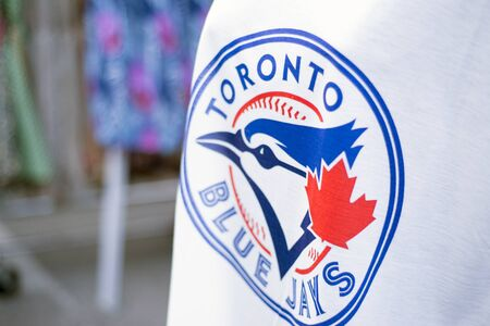TORONTO,CANADA-July 22,2015: Detail of Blue Jays memorabilia selling outside the stadium. The Toronto Blue Jays are a professional baseball team located in Toronto, Canada. Members of the Eastern Division of MLB