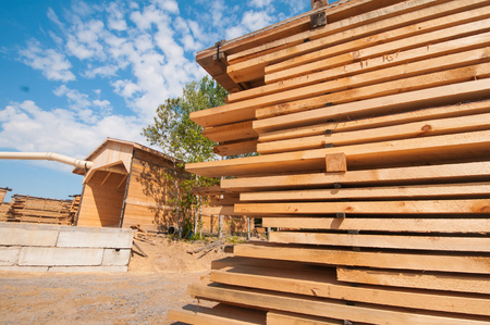 lumber mill: Wood planks stacked at lumber mill in Ontario, Canada