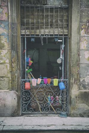 building entrance: Shabby facade in Old Havana building entrance