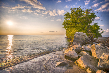 southwestern ontario: View of Point Pelee National Park beach at sunset, southwestern Ontario, Canada