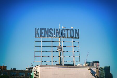 distinctive: Street sign at Kensington Market, a distinctive multicultural neighborhood in downtown Toronto, canada