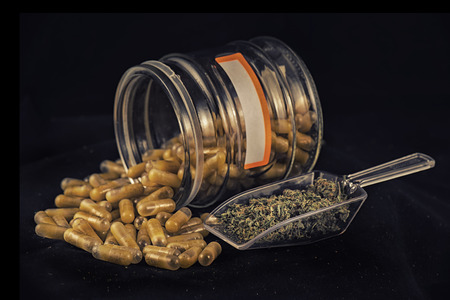 Cannabis extraction capsules infused with shatter and dried marijuana isolated over black background