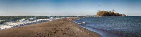 southwestern ontario: Panoramic view of Point Pelee National Park beach on Lake Erie, southwestern Ontario, Canada