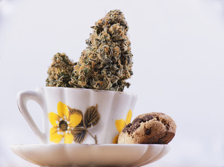 Detail of cannabis nug and coffee cup with chocolate chip cookies isolated over white - medical marijuana edibles concept